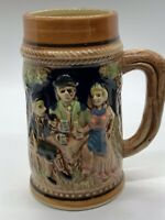 Japanese Vintage Majolica Stein With German Country Scene 5.5x4 Inches