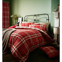 Catherine Lansfield Kelso Tartan Double Duvet Cover Red Bedding  Set