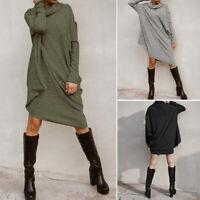 Mode Femme Col roulé Manche Longue A-Line Casuel Ample Droit Jupe Robe Mini Plus