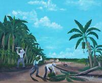 1983 Hand Signed LEONIDAS Banana Plantation Farm Landscape Art Painting Honduras