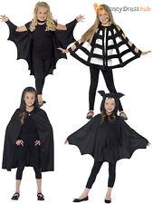 Kids Halloween Black Hooded Bat Spider Cape Cloak Boys Child Fancy Dress Costume