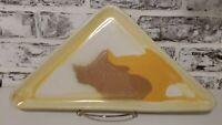 "Vintage MCM Art Pottery Plate / Trinket Dish Handmade Yellow Triangular 14"" x 7"""