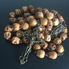 VINTAGE TIBET OXEN BONE SKULL BEADS ROSARY CRUCIFIX CATHOLIC NECKLACE CROSS