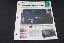 Hot Cars 1995 Ford Mustang Saleen S351 371 hp IMP Info Fold-Out Spec Sheet