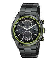 Citizen Eco-Drive HTM Men's Chronograph Green Accents 40mm Watch CA0435-51E