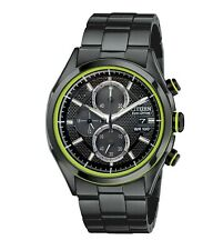 Citizen Eco-Drive HTM Men's Chronograph Green Accents 40mm Watch CA0435-51E