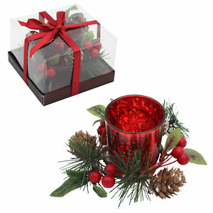 Christmas Single Red Glass Tea Light Holder with Wreath Decoration and Candle