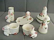 AVON  6pc Bunny Mate 1982-1985 Trinket Bell Candle Holder Dish Vase Weiss Brazil