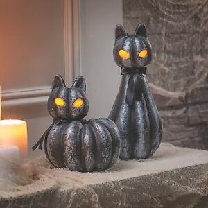 Pumpkin Black Cat Light-Up Halloween Decorations - Home Decor - 2 Pieces