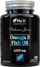 Omega 3 Olio Di Pesce 1000 mg - 180 Capsule Softgel - Omega 3 6 9 Tripla Forza