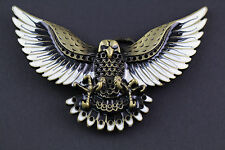 GOLDEN BROWN FLYING EAGLE BELT BUCKLE METAL WESTERN COUNTRY AMERICAN