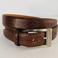 Vtg Martin Dingman Brown Tooled Leather Belt Floral Design Made By Hand Sz 36