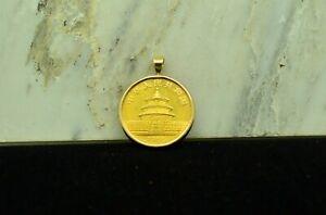 1988 CHINA 1/4 GOLD PANDA 25 YUAN IN A 14K GOLD BEZEL PENDANT