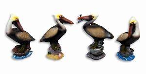"""Hand Painted 4.75"""" Assorted Pelican Bird Statue Figurine Sculpture 77P(Set of 4)"""
