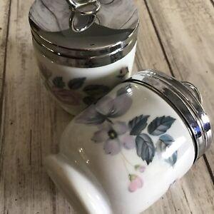 A Pair Of Vintage Unused Royal Worcester Porcelain Egg Coddlers In June Garland