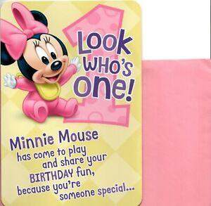 Happy 1st Birthday Girl Turning 1 One Minnie Mouse Pink Cupcake Hallmark Card