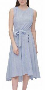 Calvin Klein Womens Dress Classic Blue Size 2 Striped A-Line High-Low $139- 255