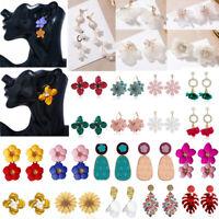 Pearl Women Painting Big Flower Drop Dangle Earrings Ear Stud Party Jewelry Gift