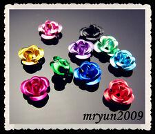 Free Jewelry making 200PCS mixed color aluminum alloy flatback Flower 6mm