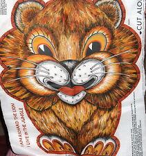 "Vintage 70s fabric pillow panel LION "" Richard "" cut n sew stuffed animal"