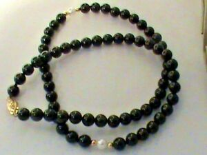 14kt Gold Clasp & Beads w/ Black Onyx & Pearls Necklace  Nice Look !