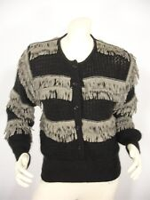 VINTAGE LINA LEE BLACK MOHAIR BLEND LEATHER FRINGE 3/4 BUTTON SWEATER WOMEN'S 38