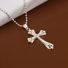 Men's Women's Unisex 925 Sterling Silver Plated Necklace Pendant Cross  B89
