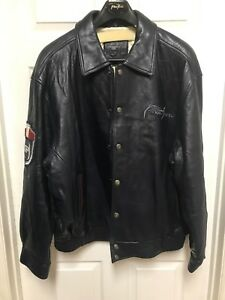 PHAT FARM BOMBER LEATHER JACKET, BY RUSSEL SIMMONS Men's 4XL