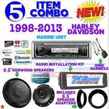 "IPOD MARINE RADIO FOR HARLEY FLHT INSTALL FLHX KIT KENWOOD 6.5"" SPEAKERS & ADAPT"