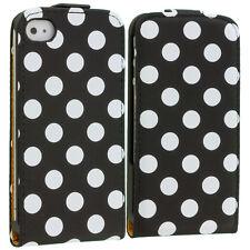 Black White Polka Dot Flip Wallet Pouch Case Cover Holster for iPhone 4S 4 4G
