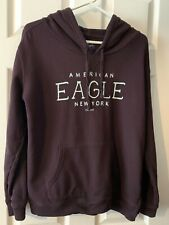 American Eagle Pull Over Hoodie Purple With Light Blue Graphic Women's Sz Large