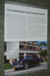 ★★1964 STUDEBAKER GRAN TOURISMO HAWK INFO SPEC SHEET PHOTO FEATURE PRINT 64★★