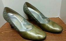 Vintage Johansen Green Suede/Studded/Olive Patent Heels Shoes 7,The Jones Store