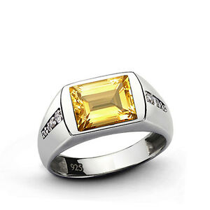 CITRINE Men's Ring with 8 DIAMOND Accents in Solid Sterling Silver Fine Jewelry
