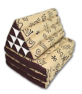Africa pattern brown cream three-fold Thai cushion 55cm x 175cm long Thailand