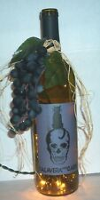 """CALAVERA con GATO"" Artisan LIGHTED WINE BOTTLE w/GRAPES-Night Light HOME DECOR"