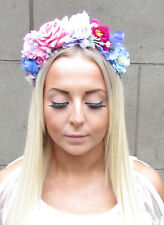 Blue Pink Purple White Rose & Gypsophila Flower Hair Crown Headband Garland 1223