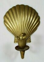 Vintage Brass Nautical Scalloped Seashell Wall Hanging Candlestick Holder 6""