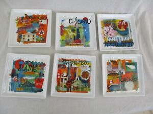 Crate & Barrel Travel City Scenes Set of 6 Appetizer Plates Seattle DC Chicago