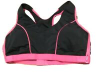 Marika Sport Bra Medium Impact Wire Free Sport NWOT Size 22 Black Pink Racerback