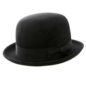 VTG Style Felt Bowler Hat BNWT/NEW 100% Wool Derby hat Men S/M/L Black/Blue/Red