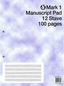 Mark 1 Manuscript Pad - 12 Staves Per Page, 100 Pages