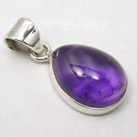 925 Sterling Silver Cabochon Amethyst 8.6 Ct Pendant 2.5 cm Women's Jewelry