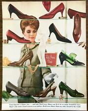 1964 Red Cross Shoes Print Ad Your Foot Has a Figure Too Woman Browsing Shelves