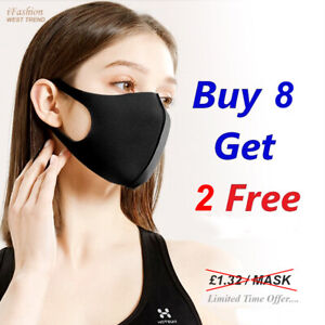 Face Mask Breathable Washable Reusable Black Unisex Covering Virus Protection UK