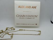 "Alex & Ani Chain Station 14K Gold Plate 38"" Expandable Charm Necklace Adjustable"