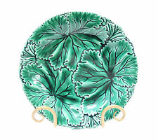 Majolica Pottery Antique English Plate Green Leaves Dark Leaf Vein Pattern
