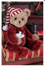 Bearington Collection Sleepy & Squeek Plush Bear with Mouse Christmas