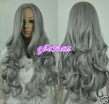 Sexy Women's Long grey Wavy Curly Natural Cosplay Hair Wigs+free wig cap