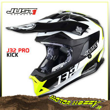 CASCO CROSS ENDURO MOTARD JUST1 J32 PRO KICK WHITE YELLOW BLACK 2018 TG. S 55-56